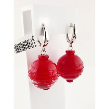 """Серьги-шары из муранского стекла """"Сицилия"""", красные"""