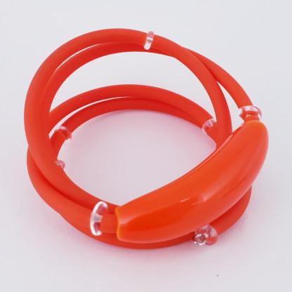 """Браслет пружинка многорядовый из каучука и муранского стекла """"Роберта"""", цвет оранжевый"""