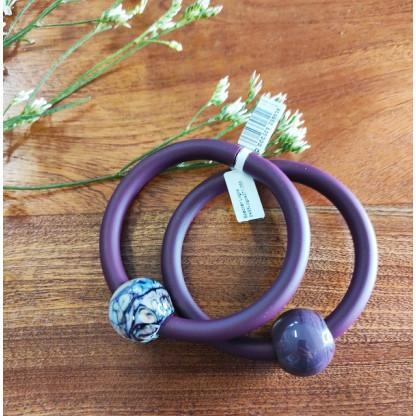 """Браслет из каучука и муранского стекла """"Абсолют"""", цвет фиолетовый  (в ассортименте)"""