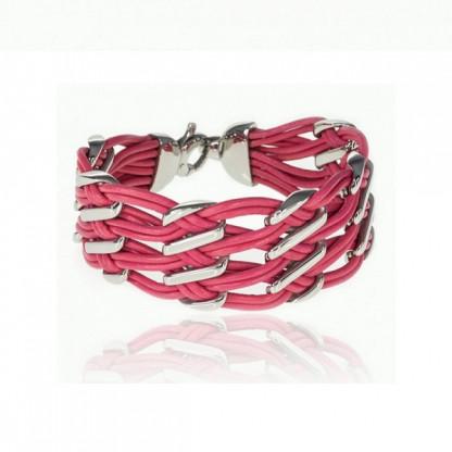 Браслет кожаный широкий со стальными вставками, розовый