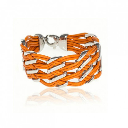Браслет кожаный широкий со стальными вставками, апельсиновый