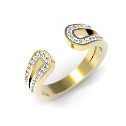 Кольцо-кафф стальное с фианитами, покрытие лимонное золото 14к