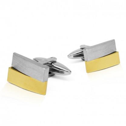 INCK04B Запонки из стали, золотое покрытие