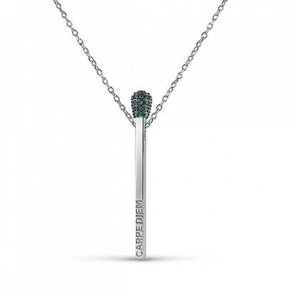 """Колье из серебра 925 """"Carpe diem"""", зеленый цвет"""