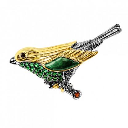 """Брошь """"птичка"""" из серебра 925 с гранатом и шпинелью"""