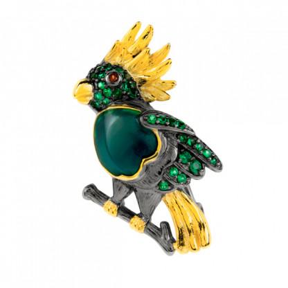"""Брошь """"попугай"""" из серебра 925 со шпинелью, гранатом и позолотой"""